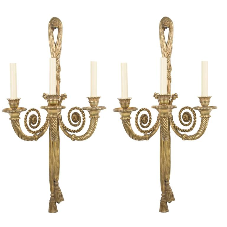 Pair of French Louis XVI Style Three-Light Sconces 1