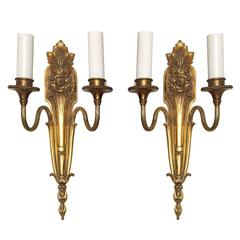 Pair of Two-Light Bronze Sconces Attributed to E.F. Caldwell