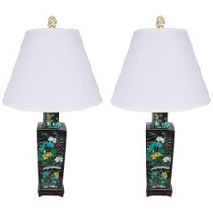 Pair of Chinese Famille Verte Black Ground Table Lamps