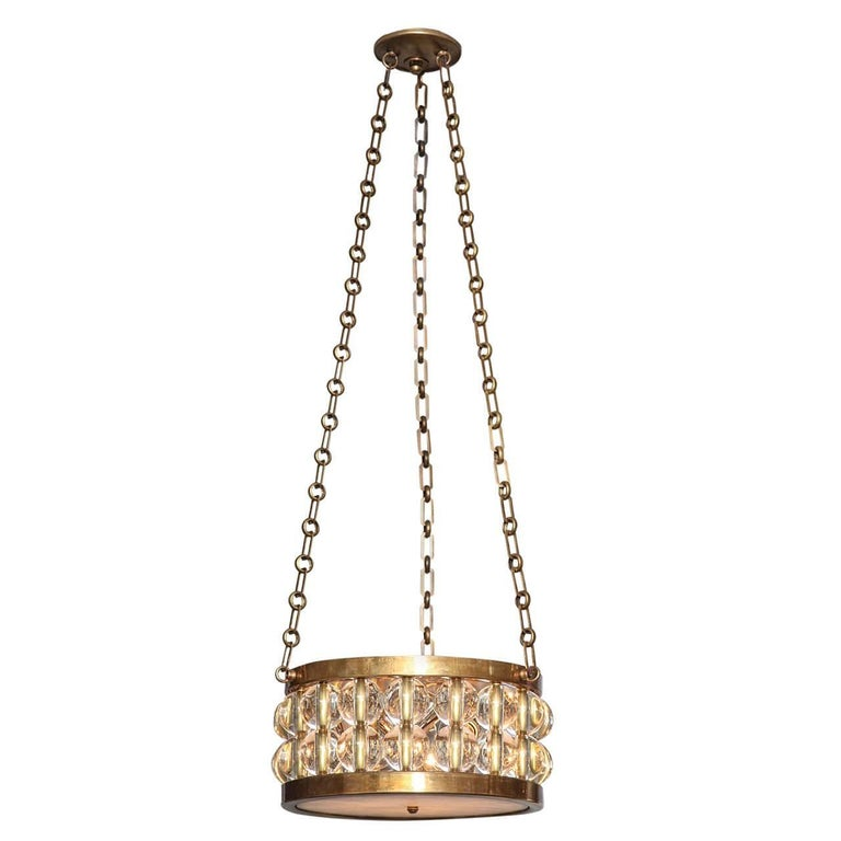 A Two-Tiered Tambour Pendant Light With Chain