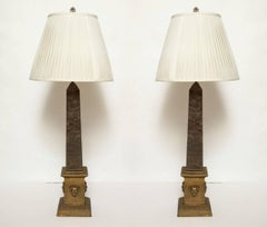 A Pair of Neo-classical Marble Obelisks Fitted as Lamps
