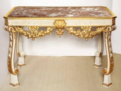 A George II Style Parcel-Gilt Cream Painted Console Table