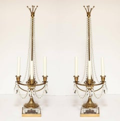 A Pair of Brass Beaded Crystal Draped Candelabra