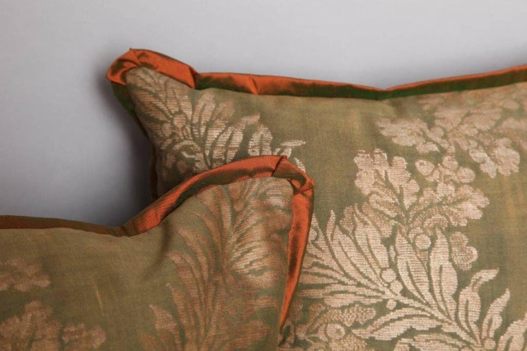 American Pair of Fortuny Fabric Cushions in the Crosini Pattern For Sale