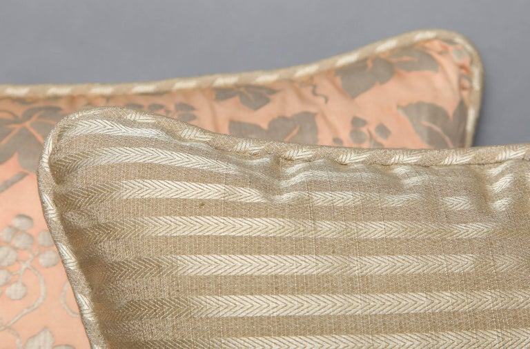 American Pair of Fortuny Fabric Cushions in the Edera Pattern For Sale