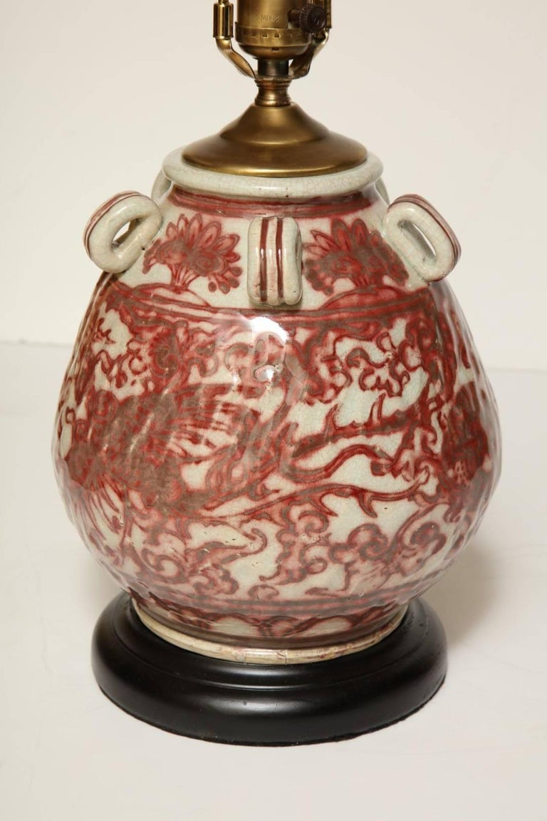 Chinese Earthenware Vessel Fitted as a Lamp In Good Condition For Sale In New York, NY