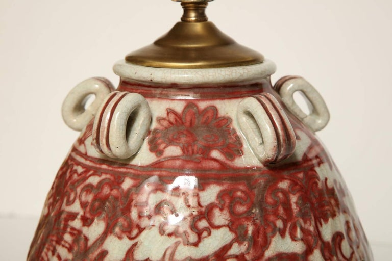 Glazed Chinese Earthenware Vessel Fitted as a Lamp For Sale