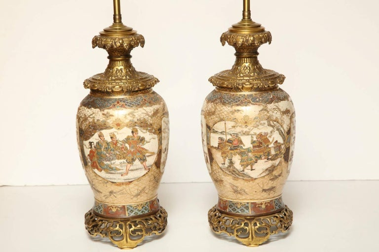 Meiji Pair of Japanese Bronze-Mounted Satsuma Table Lamps For Sale