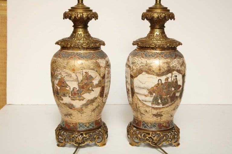 Pair of Japanese Bronze-Mounted Satsuma Table Lamps For Sale 3
