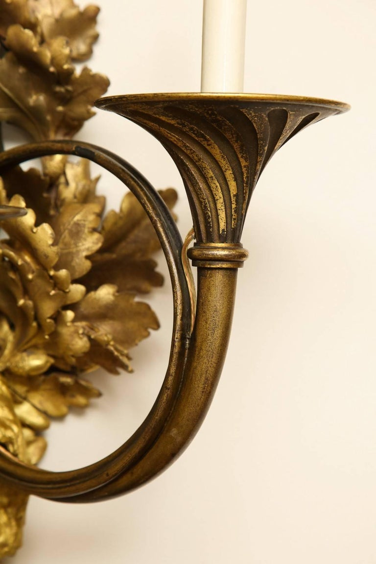 Pair of Neoclassical Ormolu and Black-Painted Three-Light Sconce For Sale 2