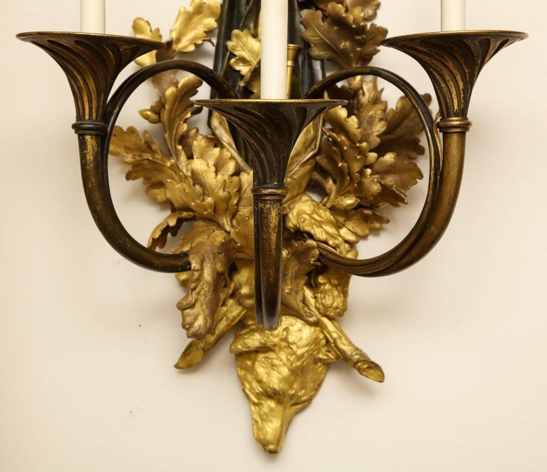 Pair of Neoclassical Ormolu and Black-Painted Three-Light Sconce For Sale 4