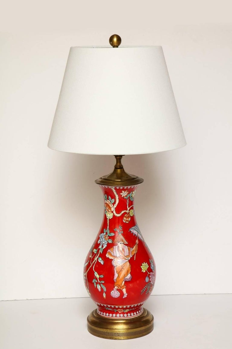 Pair of Oriental Style Porcelain Table Lamps For Sale 1