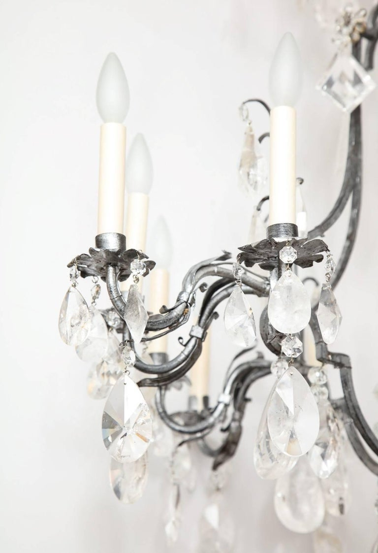 Louis XV Style Silvered-Metal Chandelier In Good Condition For Sale In New York, NY
