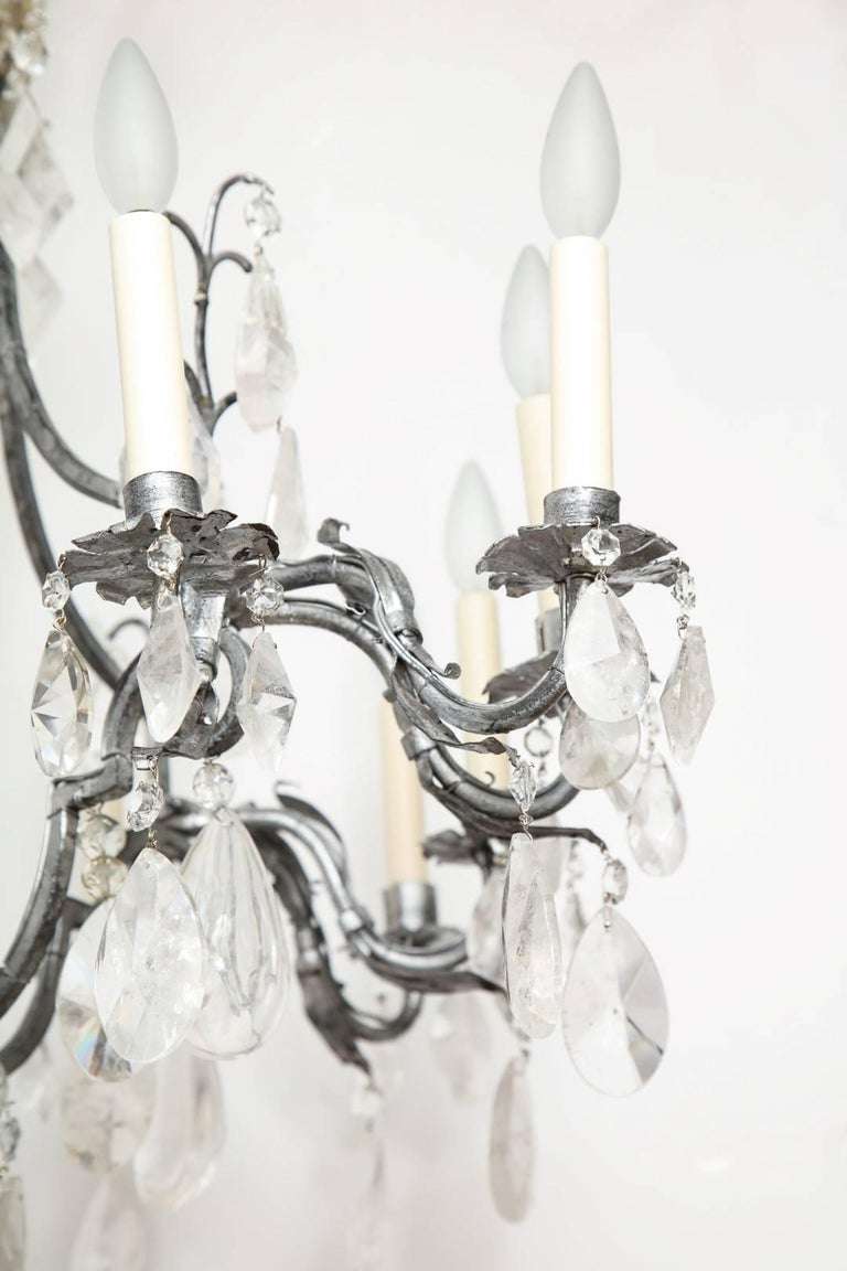 Late 20th Century Louis XV Style Silvered-Metal Chandelier For Sale
