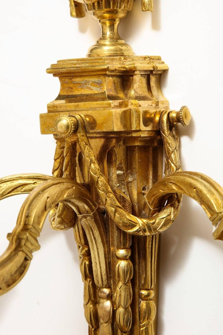 Pair of Neoclassical Gilt Bronze Sconces For Sale 2