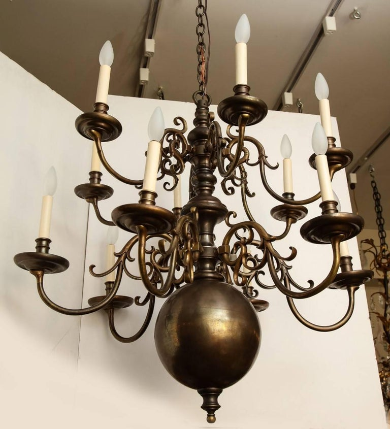 Bronze Twelve-Light Dutch Chandelier For Sale