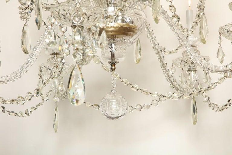 George II Georgian Style Cut Crystal Chandelier For Sale