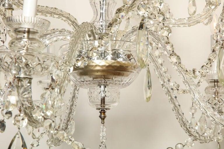 British Georgian Style Cut Crystal Chandelier For Sale
