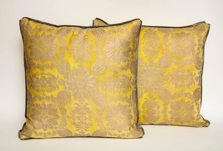 North American Fortuny Fabric Cushions in the Impero Pattern For Sale