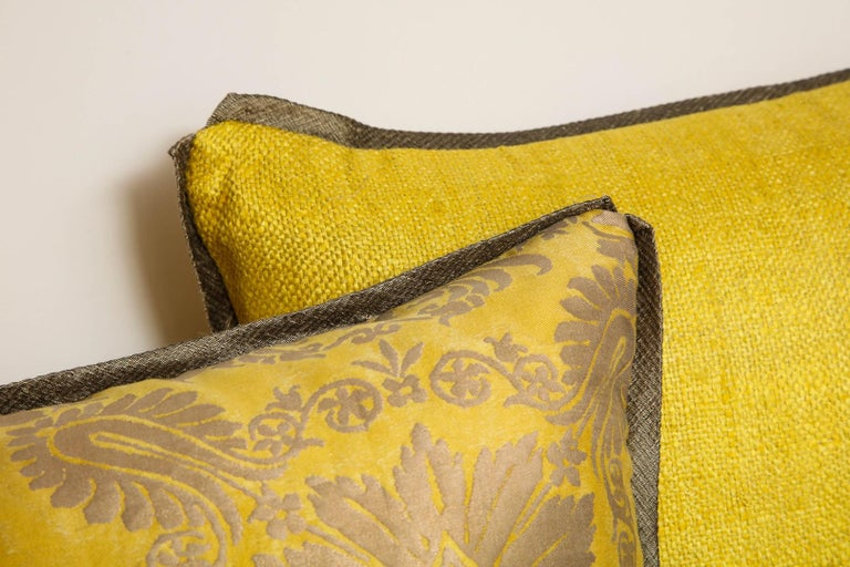 Fortuny Fabric Cushions in the Impero Pattern For Sale 1