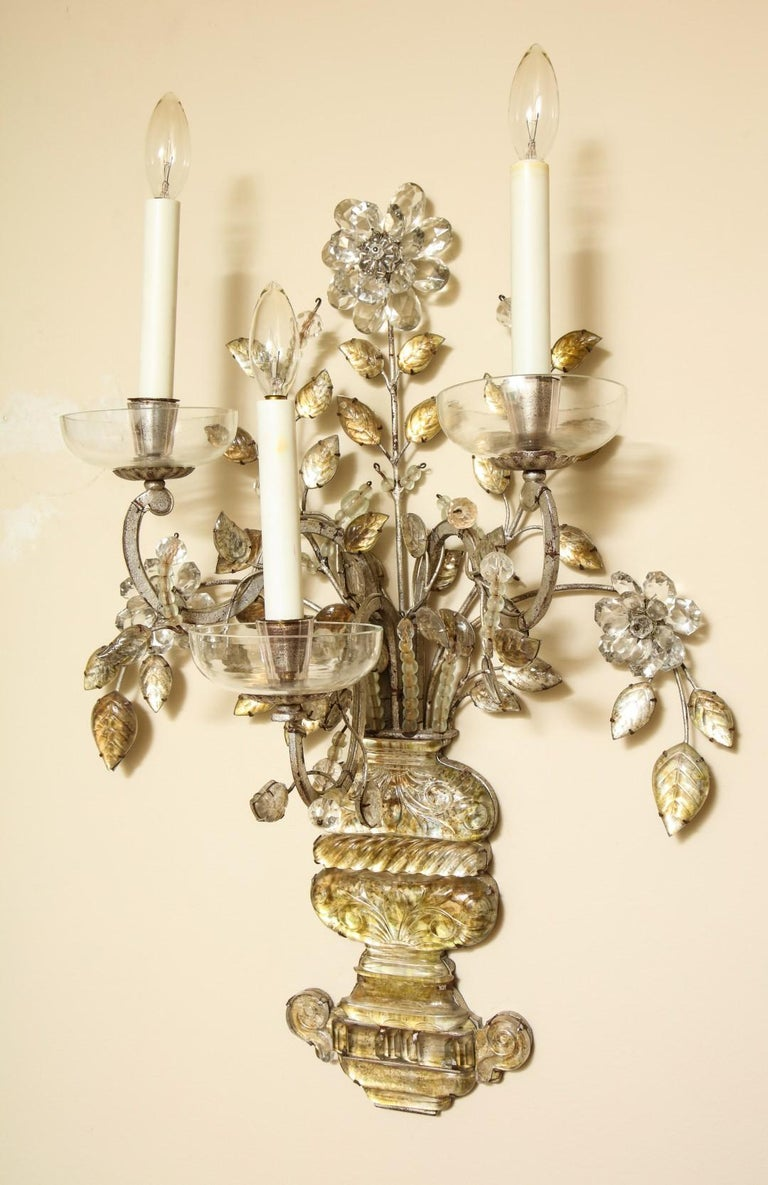 French Pair of Silvered Metal Three-Light Sconces For Sale