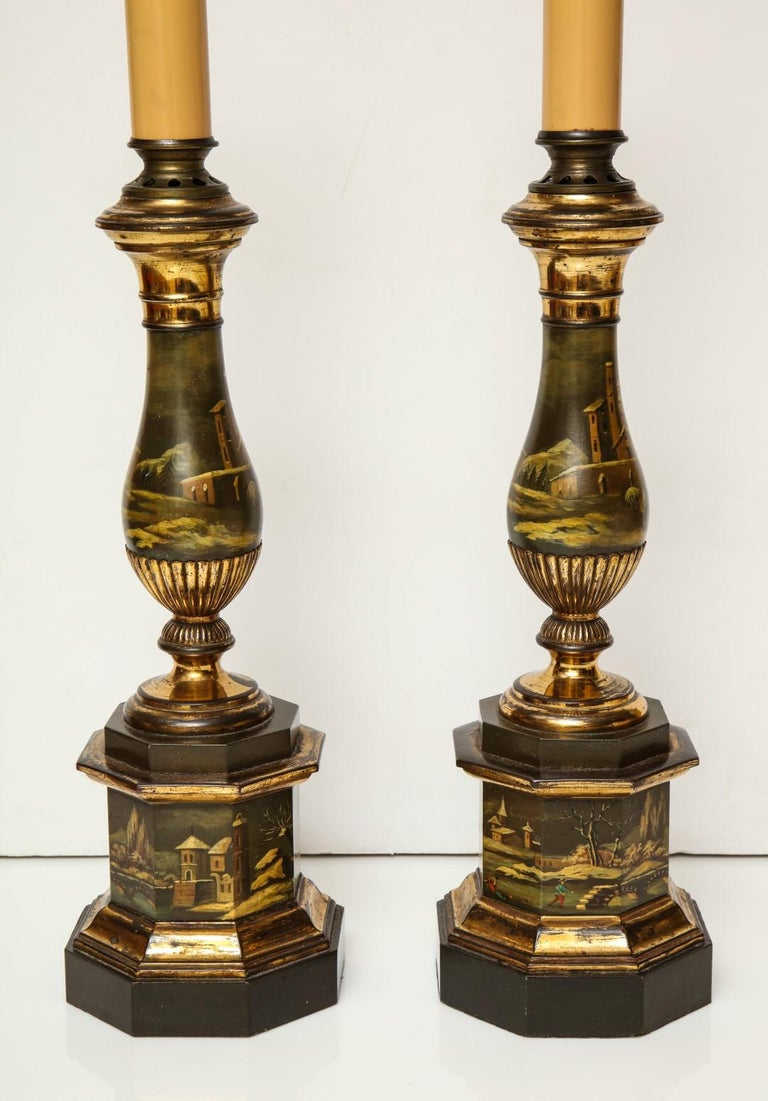 Victorian 19th Century Tole Lamps For Sale