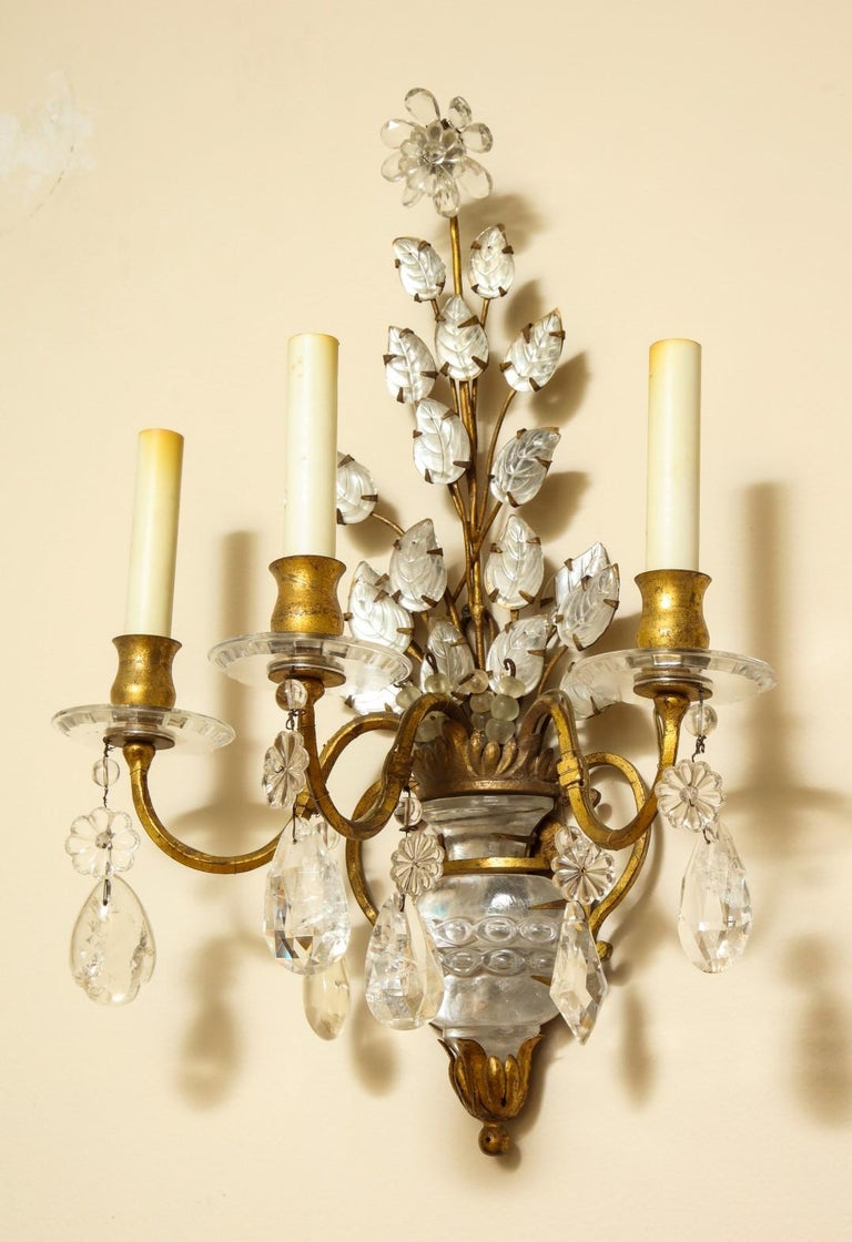 20th Century Three-Light Gilt Metal Sconce For Sale