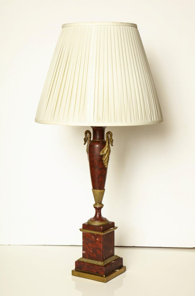 Empire Bronze Mounted Marble Table Lamps In Good Condition For Sale In New York, NY