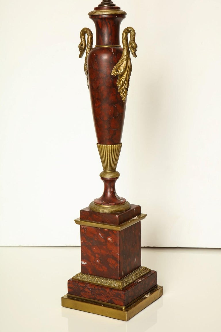 20th Century Empire Bronze Mounted Marble Table Lamps For Sale