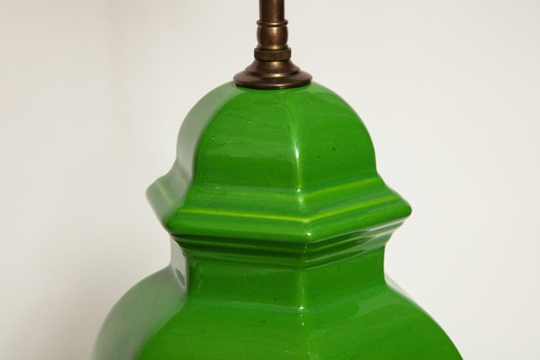 20th Century Pair of Chinese Apple Green Glazed Urns Fitted as Lamps For Sale