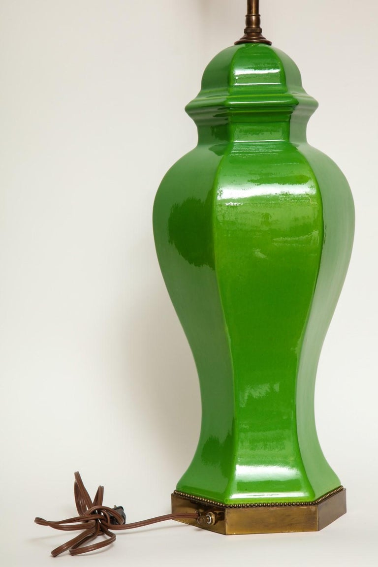 Porcelain Pair of Chinese Apple Green Glazed Urns Fitted as Lamps For Sale