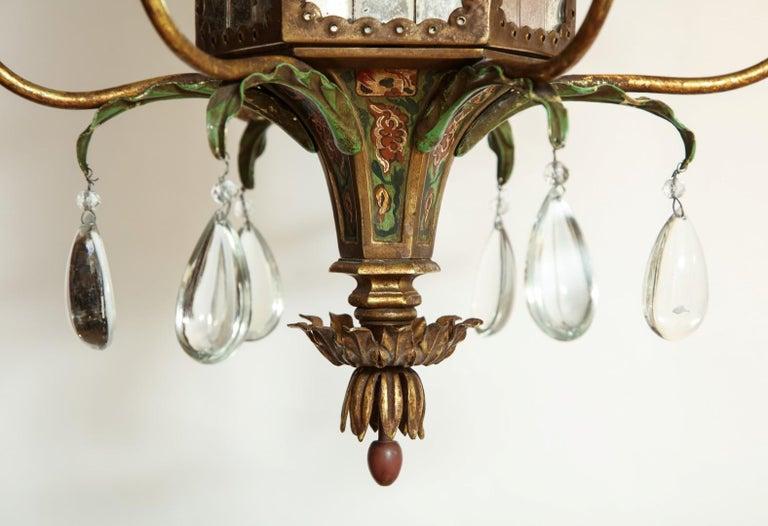 Regency Six-Light Tole Peinte and Crystal Hanging Lantern For Sale