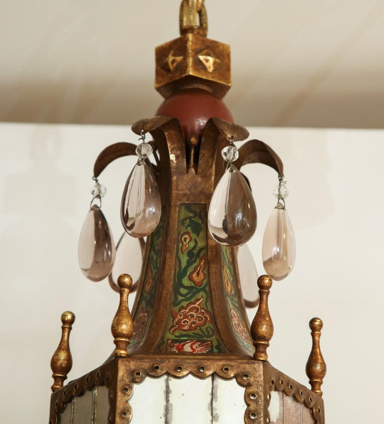 Six-Light Tole Peinte and Crystal Hanging Lantern In Good Condition For Sale In New York, NY