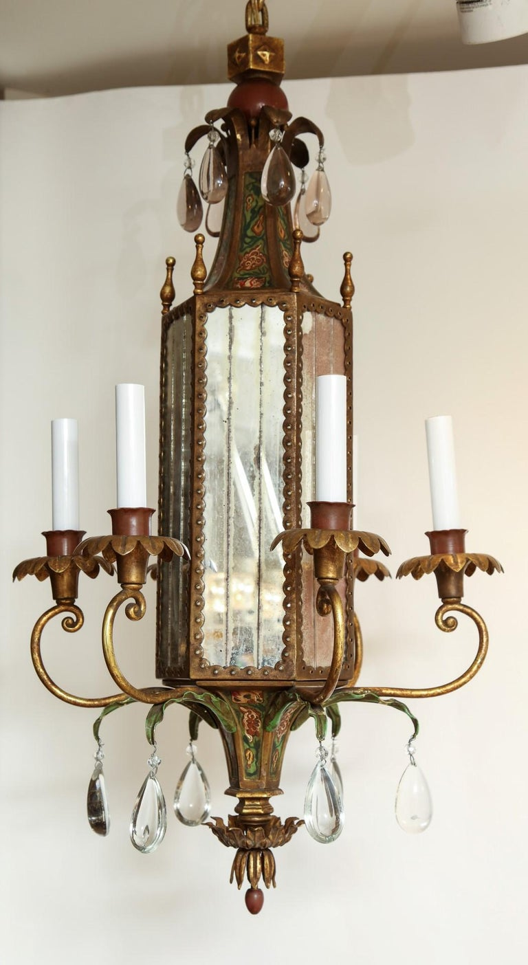 20th Century Six-Light Tole Peinte and Crystal Hanging Lantern For Sale