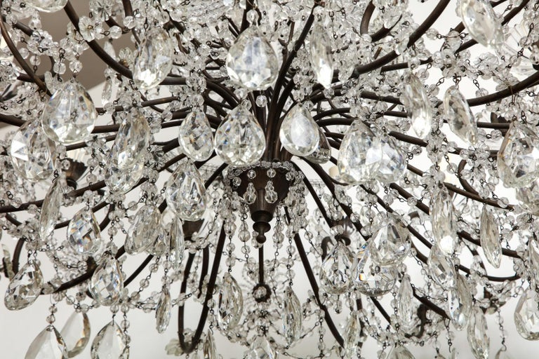 Baroque Italian Wrought-Iron Crystal Beaded Chandelier For Sale