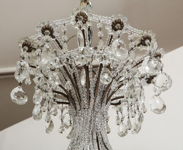 20th Century Italian Wrought-Iron Crystal Beaded Chandelier For Sale
