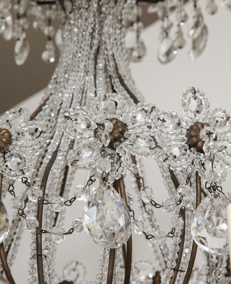 Metal Italian Wrought-Iron Crystal Beaded Chandelier For Sale