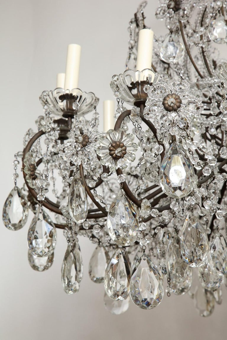 Italian Wrought-Iron Crystal Beaded Chandelier For Sale 1