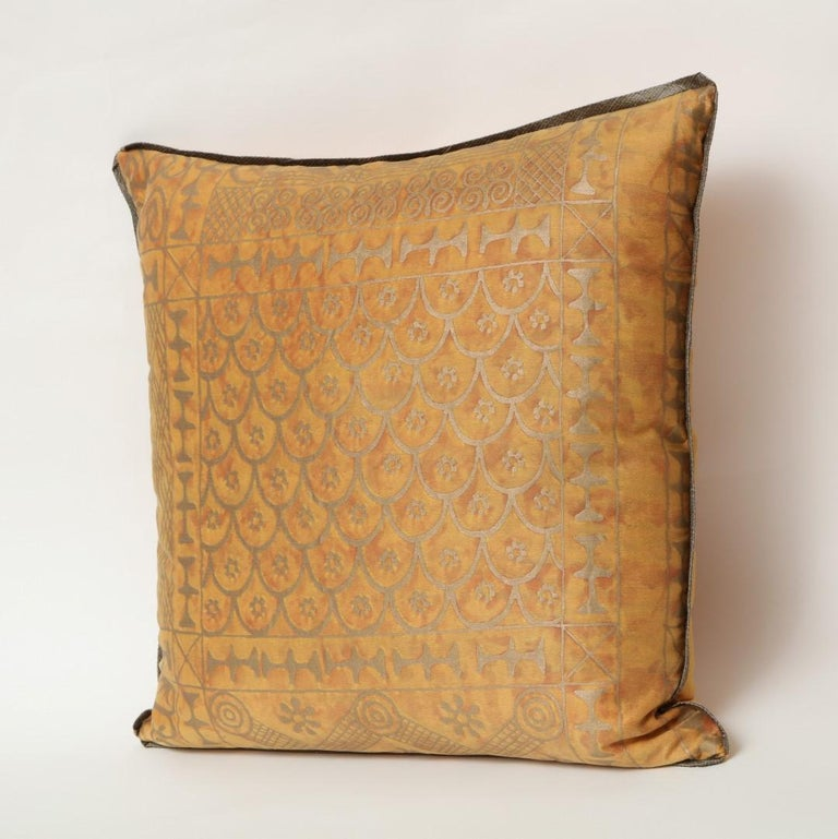 Contemporary Fortuny Fabric Cushions in the Ashanti Pattern For Sale