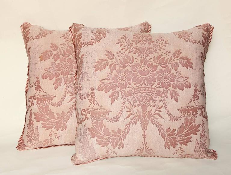 Pair of Vintage Fortuny Fabric Cushions in the Boucher Pattern 3