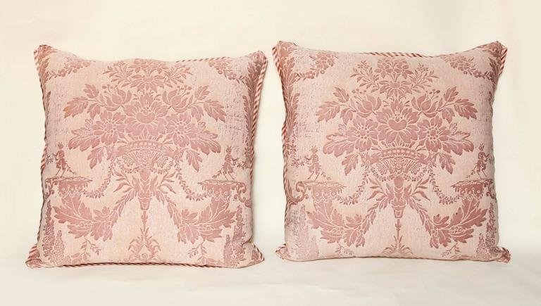 Pair of Vintage Fortuny Fabric Cushions in the Boucher Pattern 5