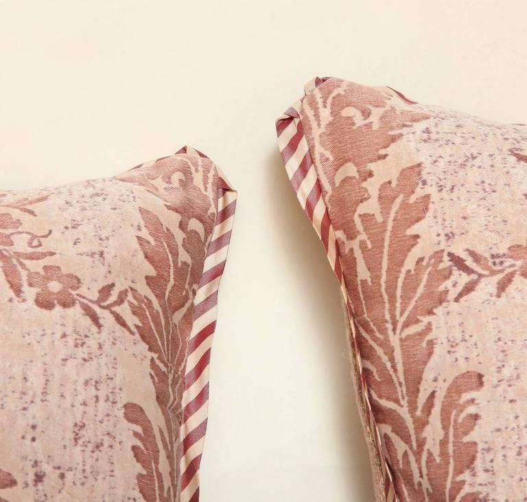 Pair of Vintage Fortuny Fabric Cushions in the Boucher Pattern 6