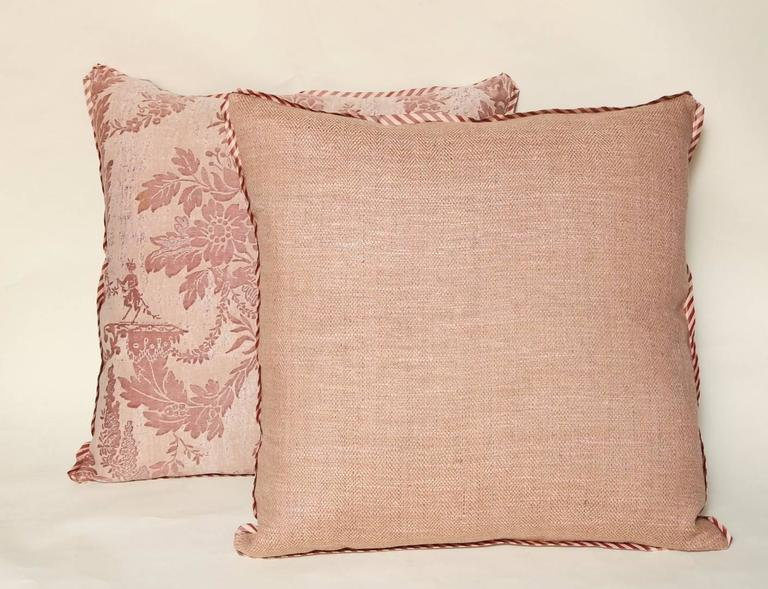 Pair of Vintage Fortuny Fabric Cushions in the Boucher Pattern 7