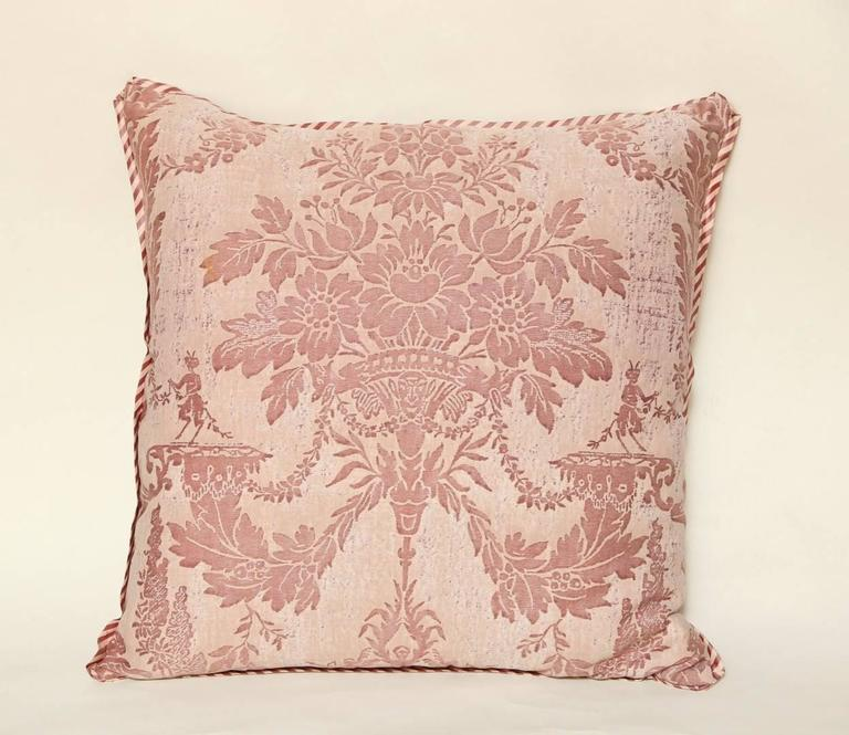 Pair of Vintage Fortuny Fabric Cushions in the Boucher Pattern 9