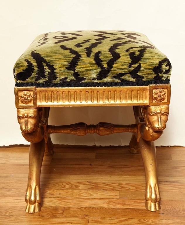 An Upholstered Gilded Stool At 1stdibs