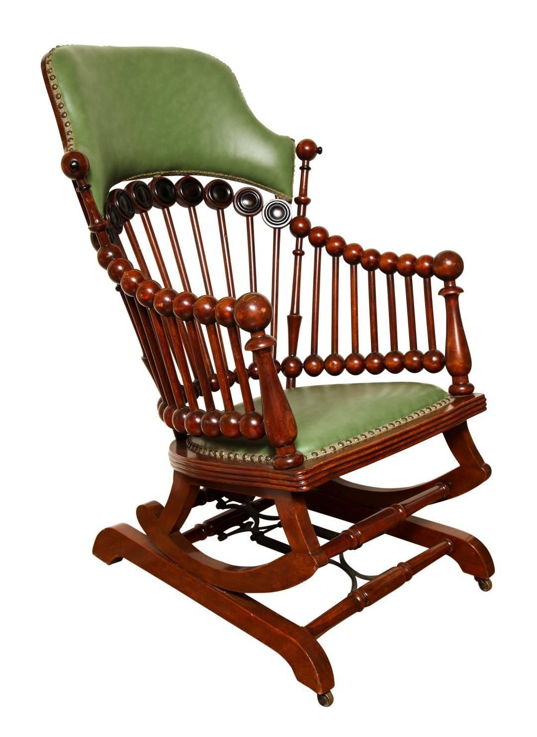 Matching Green Upholstered Armchair And Rocker By