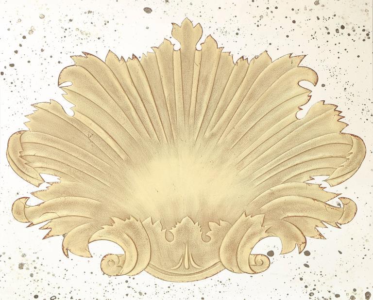 A square beveled mirror with a central verre églomisé cartouche motif.