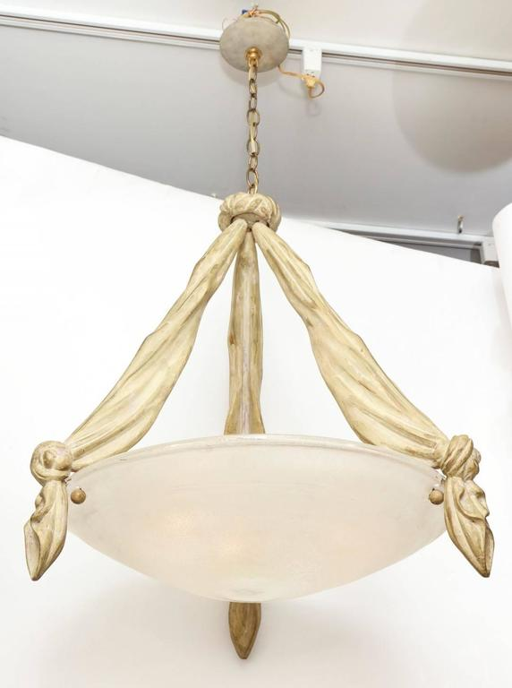 Glass Italian Pendant Fixture with Trompe l'oeil Carved Wood For Sale