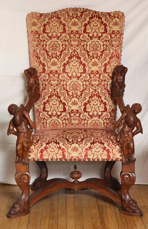 Important Italian Baroque Style Walnut Open Armchair 2