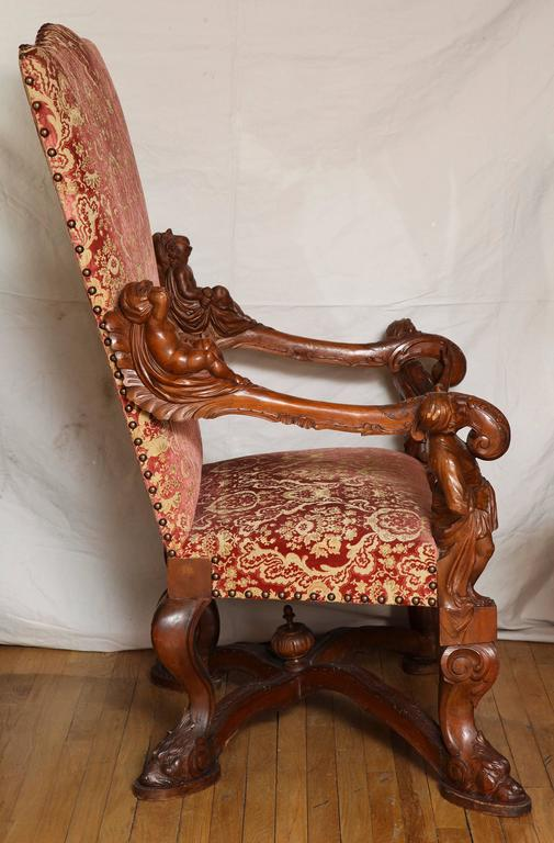 Important Italian Baroque Style Walnut Open Armchair 3